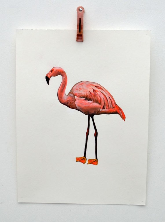 Original Flamingo Painting on Paper