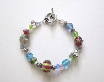 Soft Whimsy Lampwork Bead Bracelet