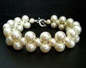 Wedding Bridal Triple Strand Bracelet with Woven Ivory Cream Swarovski Pearls - Customize Your Colors