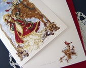 Woodland Angel with Moose and Cardinals, Christmas Card, One Card
