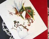 Mistletoe Fairy and Snowman, Christmas Card, 1 Card