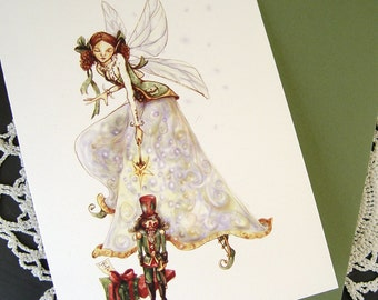 Nutcracker and Sugarplum Fairy Christmas Card, One Card