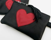 Black and Red Leather LOVE Pouch Change Purse Small Size with clip