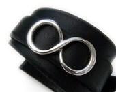Sterling Silver Infinity Floating Black Wrap Interchangeable Leather Bracelet Cuff Unisex