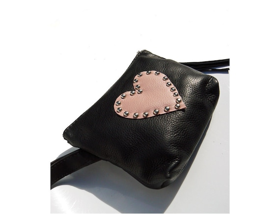 Reserve For Tpinup Large Size Black and PINK LOVE Heart Pouch Makeup Bag Date Kit Artist Bag with carry strap for Etsy Project Embrace
