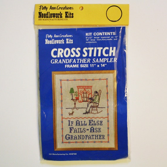 vintage cross stitch sampler - Grandfather Sampler by Patty Ann Creations