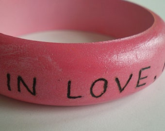 Fall In Love...  Burned and Painted Wood Bangle