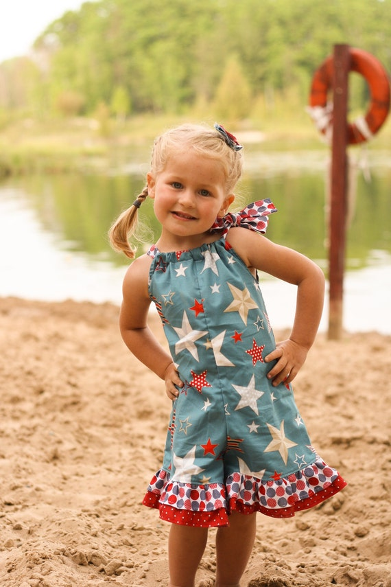 4th of July Patriotic Red White Blue Ruffle Romper