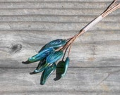 Lampwork glass leaves on copper wire headpins