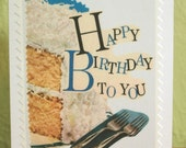 Happy Birthday To You - Greeting Card - Vintage Urban Girl - Telling Stories Series - Handmade