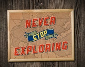 Never Stop Exploring 10x8 Art Print