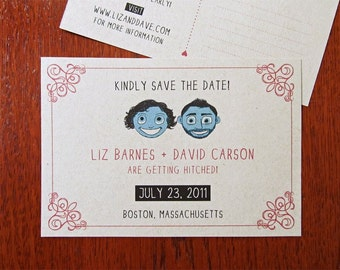 20 Drawn Together Postcard - Illustrated, Indie Wedding Save the Date