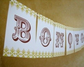 Bon Voyage Travel Inspired Paper Banner Party Garland