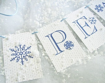 LOVE SALE Peace on Earth Knit Holiday Decoration garland Christmas garland, mantel decor, snowy decor, snowflakes