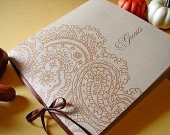 Kraft & Paisley Wedding Guest Book with blank white pages and bookmark. Customized with your names and date. Perfect for fall weddings.