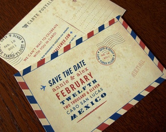 Vintage Inspired Carte Postale Save the Dates - Vintage Airmail Deco Invitations, bon voyage, announcements, travel theme, travel wedding