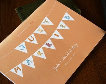 LOVE SALE Pennant Wedding Guest Book, Unique, Customized and Whimsical Detail