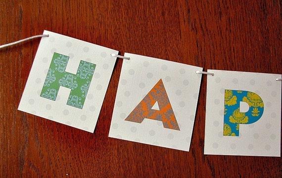 Pretty Patchwork Paper Party Banner Birthday Garland