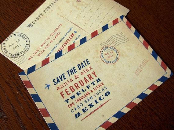 Vintage Inspired Carte Postale Save the Dates - Vintage Airmail Deco Invitations, bon voyage, announcements, travel theme, travel wedding