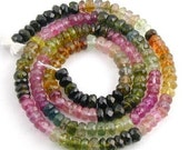7 Inch of AA Grade Tourmaline Faceted Rondelle  4mm x 2.5mm to 3.5mm x 2mm