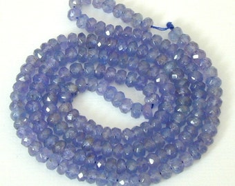 2.5 Inch of AAA Tanzanite Faceted Rondelle  3.5 x 2mm
