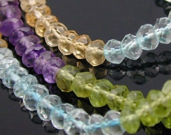 7 inch - AA Multi- Gemstone Faceted Rondelle  4mm