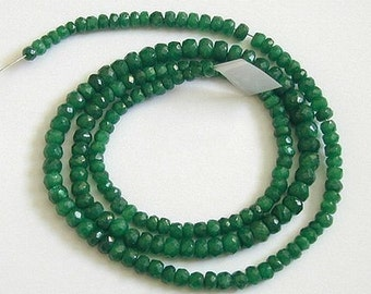 2.5 Inch - AA Grade Emerald Faceted Rondelle  4.3mm