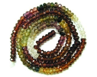 6-1/2 Inch - AAA  Tundra Saphire Faceted Rondelle  4mm