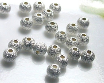 20 pcs - 3mm Sterling Silver Star Dust Round Beads