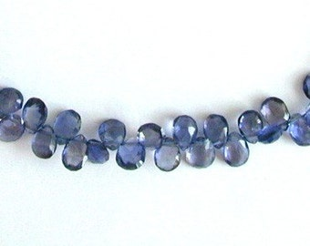 10 pcs of Iolite Pear Faceted briolettes  6 x 4mm to 6.5 x 4.5mm