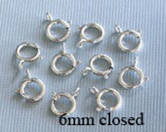 6 pcs - Sterling Silver Spring Closed Clasp   6mm
