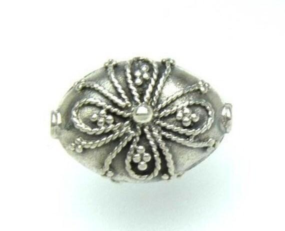 2 pcs -  Bali Sterling Oval Flower Bead  13 x 9 x 6mm