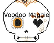 Sugar Skull cross stitch pattern - in oranges