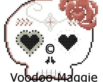 Sugar Skull cross stitch pattern - in terracotta and grey