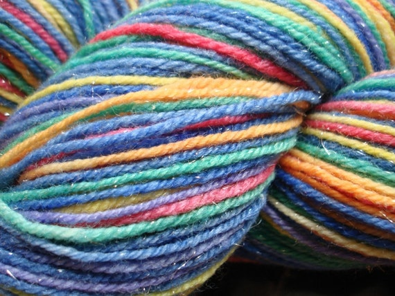 RESERVED FOR LINDY -- Rainbow Unicorn Farts Selfstriping Superwash Sock Yarn with Silver