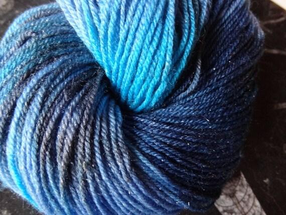 Dark Castiel -- Superwash Merino Sock Yarn with Silvery Sparkles
