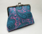 ON SALE - Frame Purse - In Blue and Pink Vintage Paisley Fabric