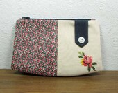 ON SALE - Zipper Purse - In Liberty and Vintage Cross Stitch