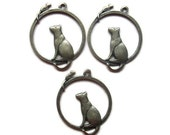 9 cat and mouse antique bronze charms