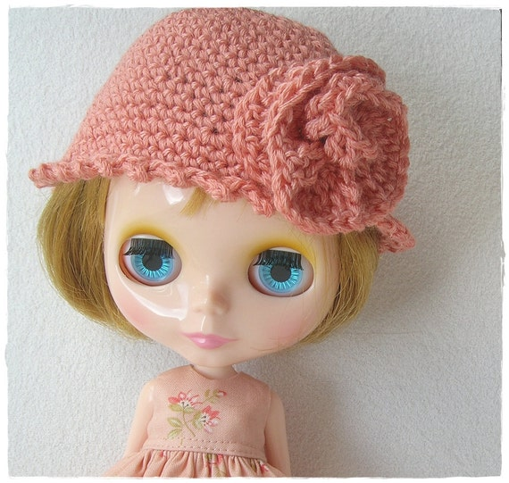 Apricot Crocheted Hat with Flower for Blythe