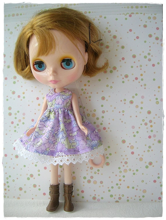 Purple Spring Flowers Dress for Blythe