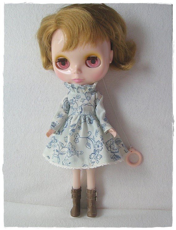 Blue Flowers on Cream, Ruffle Neck, Long Sleeve Dress for Blythe