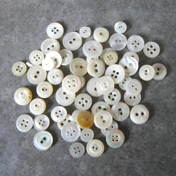 Lot of 50 Tiny Mother of Pearl 1\/4 to 3\/8 inch Vintage Sewing Buttons for baby doll clothes