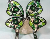 Green and Black Eye Fairy Wings with Transparent Iridescence