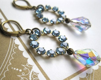 Aniqued Brass Swarovski Crystal Vintage Style Dangle Earrings Light Sapphire Blue Crystal AB Wedding Bridal Jewelry Something Blue