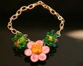 Lampwork  bracelet   Spring Into Fuschia  SALE