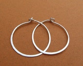 sterling silver hammered hoops 18ga, 1-1/4 inch 1.25 inch