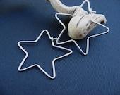 star hoops in sterling silver 1.5 inches. Super Star earrings 18ga 16ga