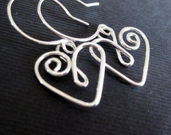 sterling silver heart earrings made with bent wire