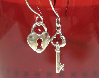 sterling silver key and heart dangle earrings -The Key to my Heart